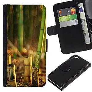 EJOY---La carpeta del tirón la caja de cuero de alta calidad de la PU Caso protector / Apple Iphone 6 / --Naturaleza Hermosa Forrest Verde 135