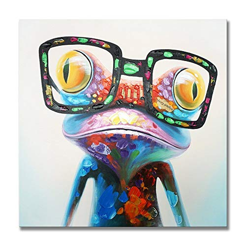 Hand-Painted Oil Painting Glasses Cool Frog Modern Animal Painting Home Wall Art Decoration Living Room Bedroom Restaurant Canvas Art Oil Painting 20x24 Inches