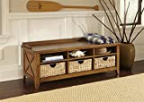 Liberty Furniture Hearthstone 6 Cubby Storage Bench in Rustic Oak
