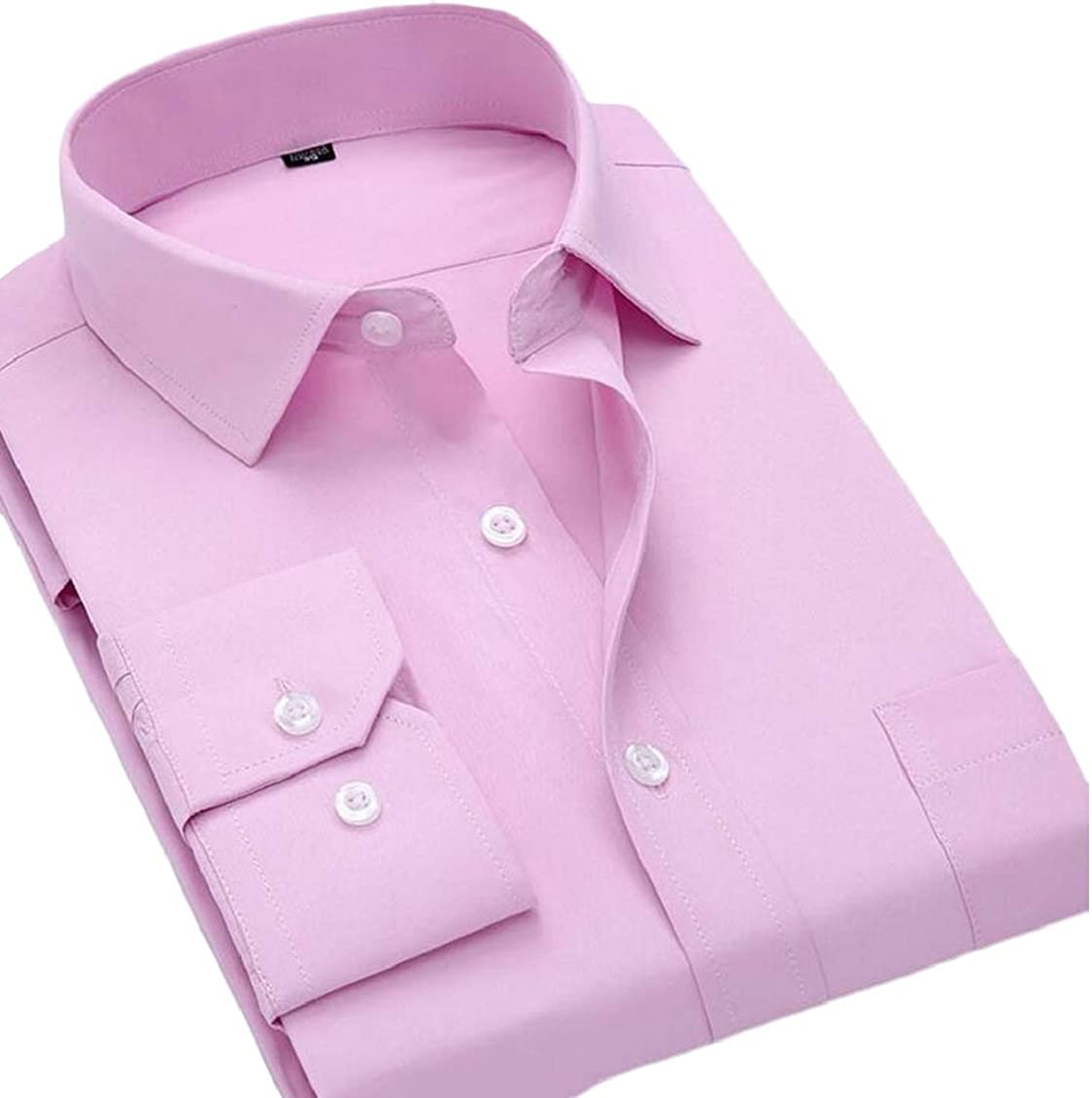 Hajotrawa Mens Workwear Lapel Solid Button-Down Slim Long Sleeve Shirts