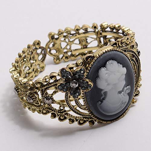 FidgetFidget Maiden Cuff Cameo Bracelet Vintage Victorian Carving Queen Statue Bangle