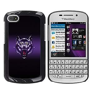 Qstar Arte & diseño plástico duro Fundas Cover Cubre Hard Case Cover para BlackBerry Q10 ( Wolf Roar Art Drawing Portrait Purple Glow)