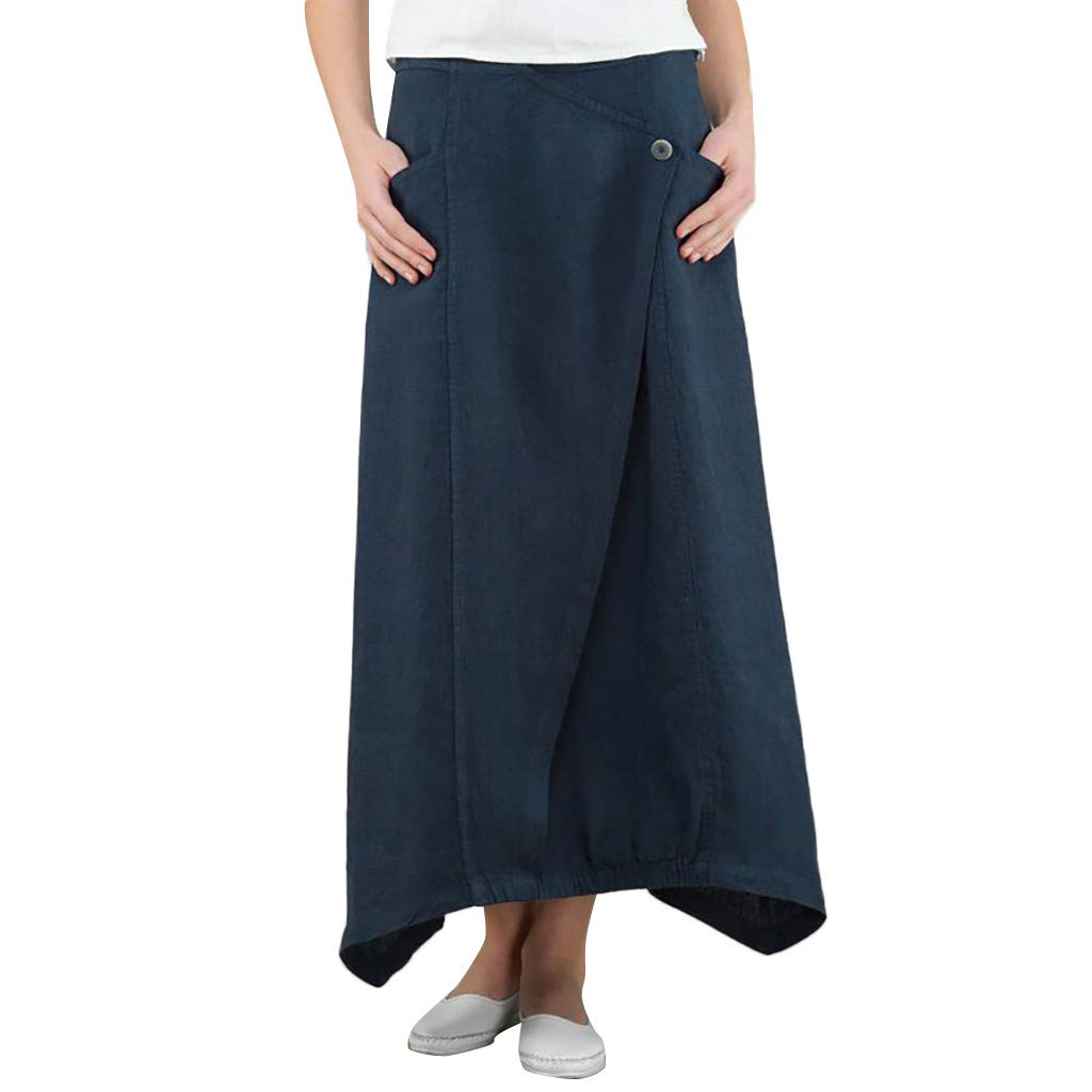 Women Cotton Linen Long Skirt  Ladies Fashion Natural Solid Color Button Wild Casual Pocket Skirts