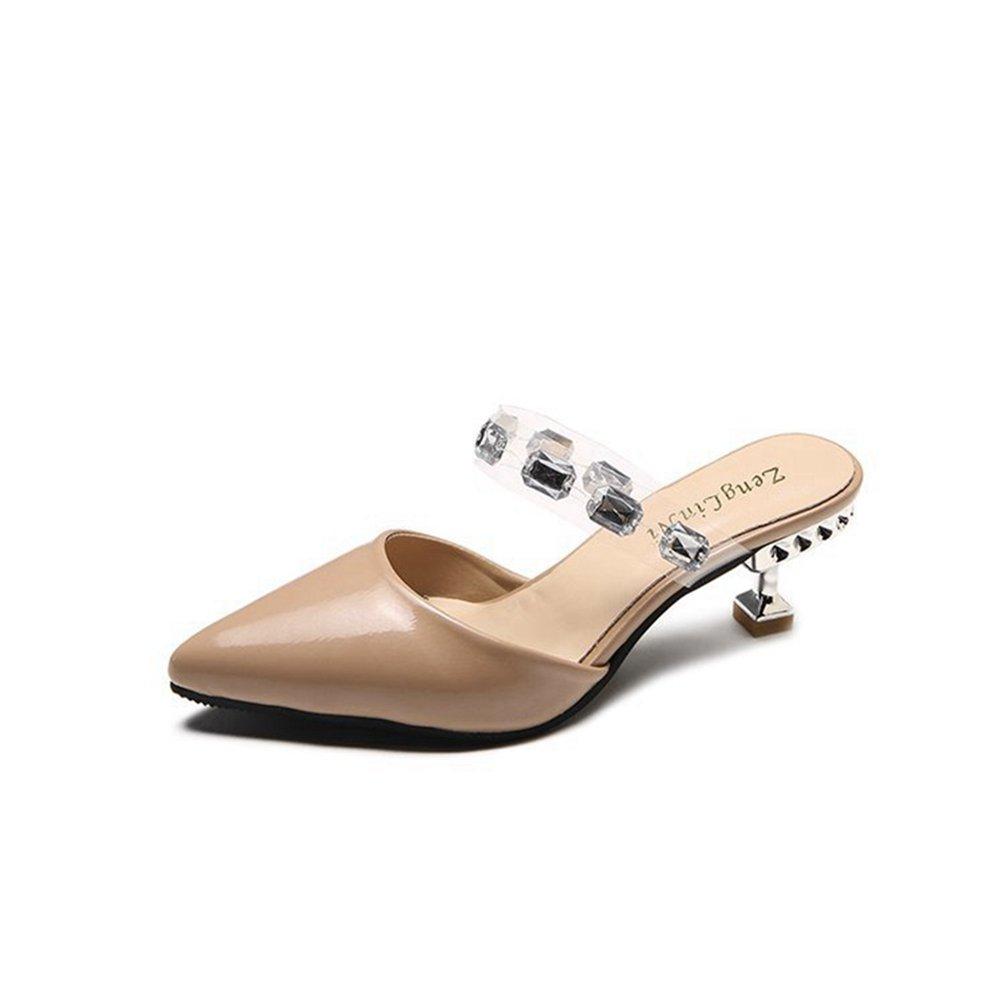 Frauen Einfache Spitze Zehe Mid Kitten Ferse Slide Sandalen Mode Slip auf Lazy Shoes  35 EU|Aprikose