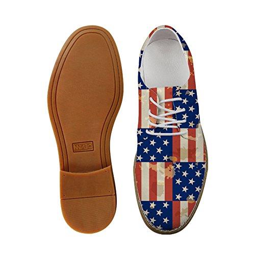 HUGS IDEA HUGSIDEA Flags Pattern Vintage Mens Oxford Flats Lace Up Shoes Leaf 2 KklYnwUib