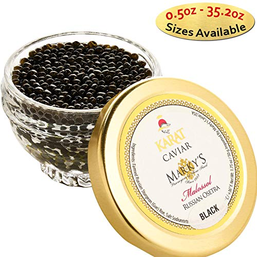 - Marky's Russian Osetra Karat Black Caviar – 4 oz Premium Osetra Sturgeon Malossol Black Roe – GUARANTEED OVERNIGHT