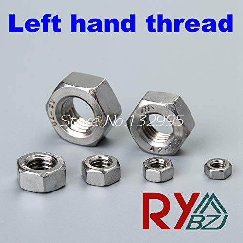 Nuts Left Hand Thread hex nut M3 M4 M5 M6 M8 M10 M12 M16 M18 M20 Stainless Steel A2 Metric SUS304 - (Size: M18 x 10pcs, Color: Thread Pitch 1.0)