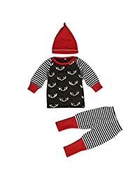 Doinshop Baby Clothes, Infant Girl Boy Winter Warm Top Pants Hat 3pcs Outfits Set