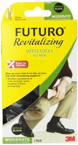 Futuro Revitalizing Men's Dress Socks, Black Medium, Moderat