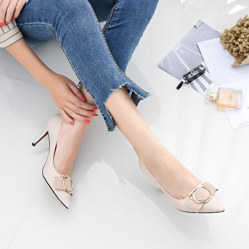 Metal Heels Uk6 SDUDIO Button European High FANG Women's and American Shoes Individual Girl Ygq1BxwP