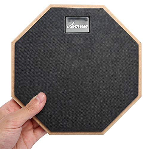 Asmuse Drum Practice Pad Single Sided Rubber Surface Training Mute Silent Drum Pad(8 Inch Black)