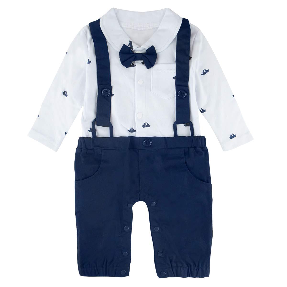 A& J Design Baby Jungen Gentleman Strampler Partei Overall mit Krawatte