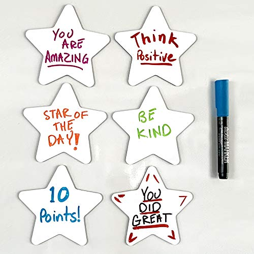 (mcSquares Stickies Stars Dry-Erase Sticky Notes. Reusable Whiteboard Stickers - Stars 6 Pack - Never Buy Paper Post Notes Again, Its Eco-Friendly! with Smudge-Free Wet-Erase Marker)