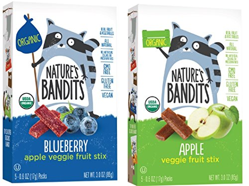 Nature's Bandits Organic Fruit & Veggie Stix, Variety Pack (Apple & Blueberry), 0.6 Ounce 5 Pack (2 Count) Gluten Free, Vegan, (Apple Organic Candy)