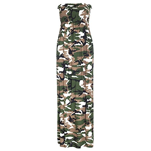 Oops Outlet Women's Printed Gathered Boobtube Bandeau Sheering Long Maxi Dress Plus Size US 14 Army (Oops Outlet)