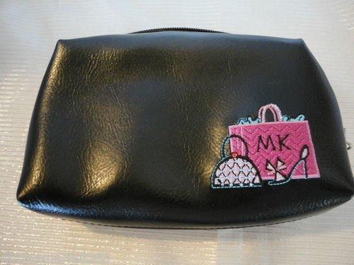 Mary Kay Girlfriends Black Girlfriend Glam Cosmetic Bag Organizer W Hot Pink Interior & Embroidery (Mary Kay Cosmetic Bag Organizer)