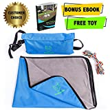 "Pet Cat Dog Blanket – Waterproof – Perfect For Pets Cats Dogs - 27""x39""- Premium Bundle Set with Storage Bag and Toy - eBook - House Train exercises for your Puppy by Wolfanatic (Blue)"