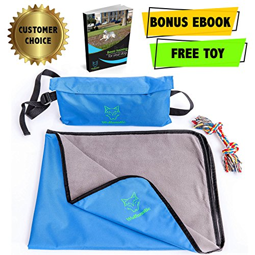 """Dog Blanket – Waterproof – Perfect For Dogs Pets Cats - Premium Bundle Set with Storage Bag and Toy - 27""""x39""""- eBook - House Train exercises for your Puppy by Wolfanatic (Blue)"""