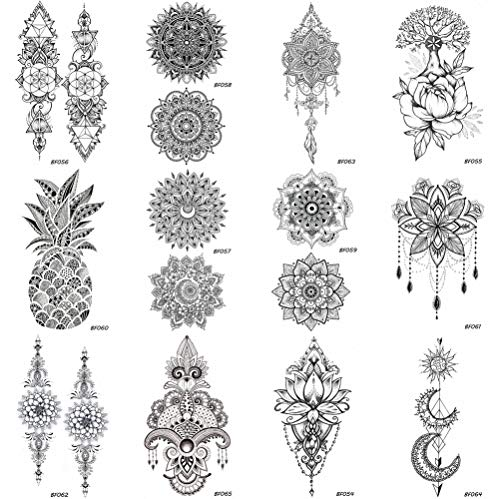 12 Pieces/Lot Sexy Mandala Flower Henna Temporary Tattoos Stickers Cover 10x6CM Women Girls Bohemia Body Arm Art Waterproof Fake Jewelry Tatoos Black Pendants Boho Paste