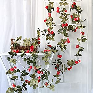 Flojery 2PCS/10.82FT Artificial Rose Flowers Fake Flower Garland Ivy Vine Green Leaves Home Wedding Garden Party Floral Decor 6