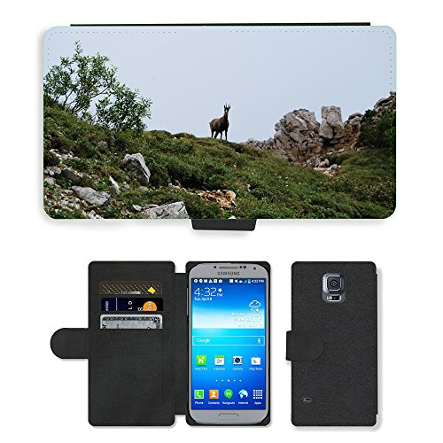 Just Phone Cases Flip PU Leather Wallet Case with Credit Card Slots // M00127978 Chamois Mountain Animal Wild // Samsung Galaxy S5 S V SV i9600 (Not Fits S5 ACTIVE)