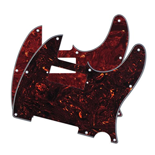IKN Tele Style Guitar Pickguard Telecaster Style Pickguard Scratch Plate w/ Mini Humbucker, Pack of 2 Different Colors, 4Ply Red Tortoise and Brown - Of Tortoise Colour