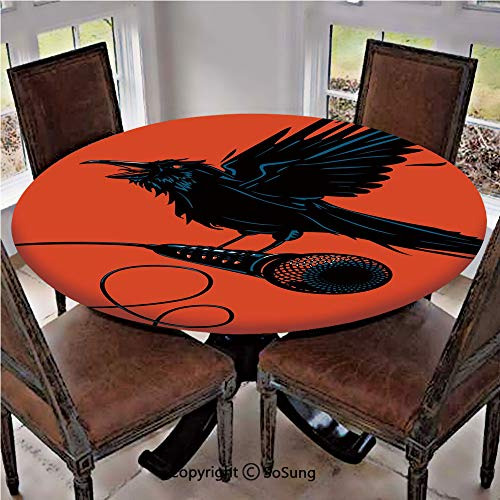 - Elastic Edged Polyester Fitted Table Cover,Raven is Holding a Microphone Rock Music Theme Festival Party Gothic Singer,Fits up 45