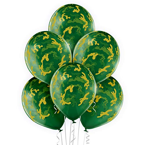 Camouflage Balloons. 24 per Pack. High Quality Latex 12 Inch Size. Perfect for Outdoors Themed, Hunting, or Military Celebration or Party. -