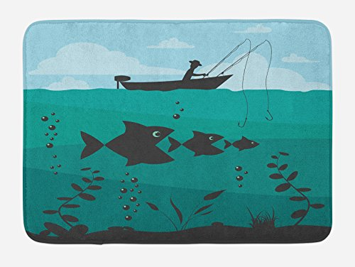 Ambesonne Fishing Bath Mat, Single Man in Boat Luring with Bobbins Nautical Marine Sea Nature Funky Image Print, Plush Bathroom Decor Mat with Non Slip Backing, 29.5 W X 17.5 L Inches, Blue Teal -