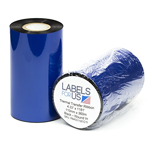 (Thermal Transfer Ribbon - Premium Resin-Enhanced Wax - 1 Roll (4.33