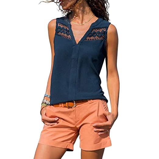 f16ba820049 Sexy Fashion Womens Ladies Summer Casual V-Neck Sleeveless Lace Design Tank  Top Hollow Out Blouse at Amazon Women s Clothing store