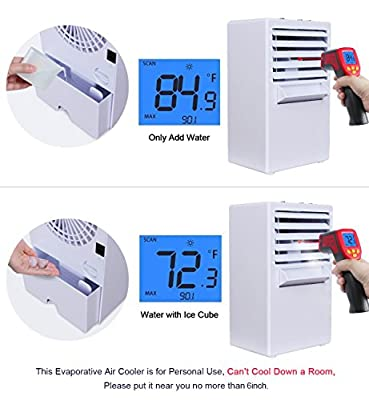 Vshow Portable Air Conditioner Fan Mini Evaporative Air Cooler Misting Swamp Cooler Small Desk Humidifier Fan for Office Dorm Nightstand