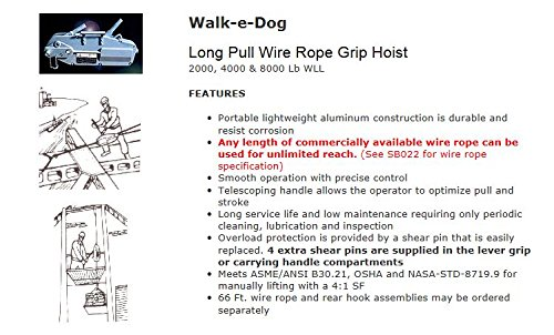 All Material Handling WD07 Walk-e-Dog Grip Hoist 4000 lb