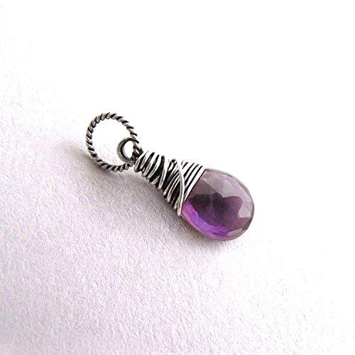 Genuine Amethyst Charm, Small Gemstone Pendant with Box, February Birthstone - Sterling (Amethyst Genuine Charm)