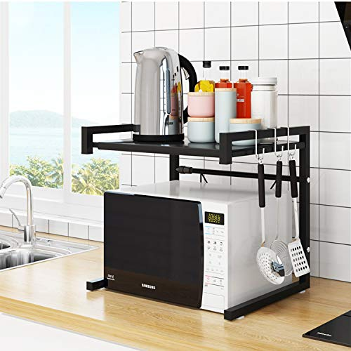 Kingwa Microwave Oven Rack,Carbon Steel Holder,Expandable Shelf,with 3 Hooks and Anti-Slippery Mat, Bearing Weight 66lbs,Double Layer,Space Saving Countertop Storage Shelves (Black)