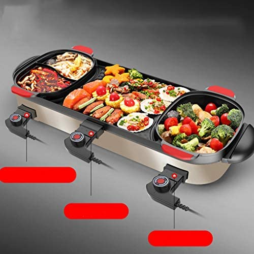 DYXYH Hot Pot de Split électrique Barbecue Grill Ménage sans fumée Barbecue Hot Pot Torréfaction intégré Pot antiadhésif électrique de cuisson machine Pan Barbecue