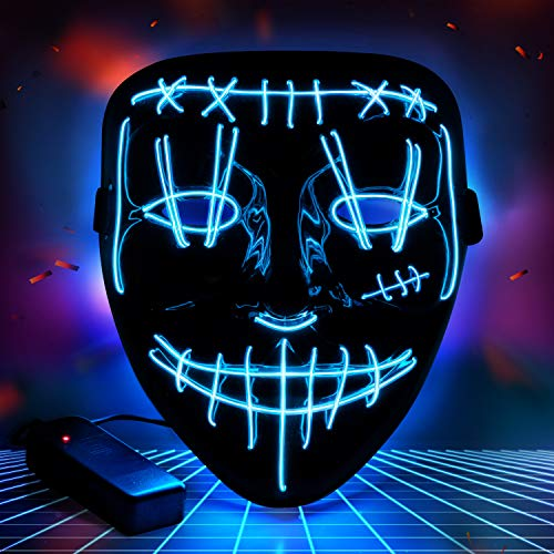 The Purge Halloween (YXwin Purge Mask Light up LED Halloween Mask for Adults Men Women Boys Girls Cosplay AA Battery 3 Color Modes Blue Glowing for Parties Rave Costume Masquerade Lightshow Dancing Clubbing)