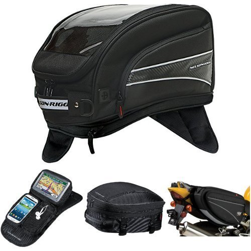 Nelson-Rigg CL-2016-MG Black X-Large Magnetic Mount Journey Tank Bag,  CL-GPS-MG Black Magnetic Mount Journey GPS Mate,  CL-1060-S Black Sport Tail/Seat Pack,  and  CL-950 Black Deluxe Sport Touring Saddle Bag Bundle