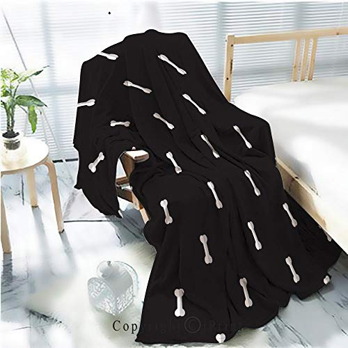 Flannel Printed Blanket for Warm Bedroom,dog bone seamless pattern bone vector french bulldog puppy halloween background repeat wallpaper isolated graphic black Cracked Burning Earth Decorative,One