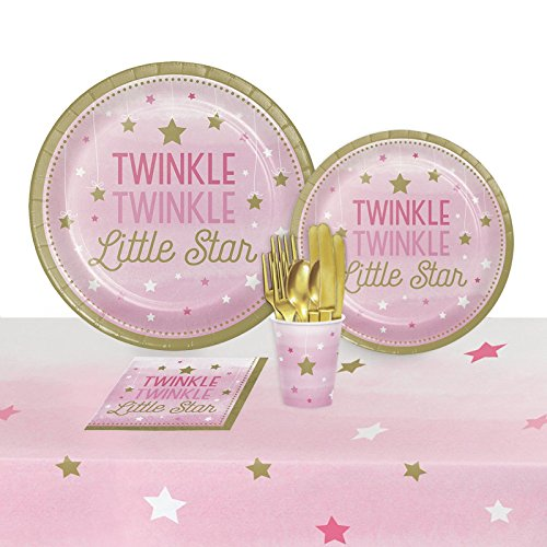 Twinkle Twinkle Little Star Pink Party Pack (Twinkle Twinkle Little Star Paper Plates)