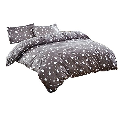 Star Full Comforter - Bedding Duvet Cover Sets 3-pieces Full/Queen Size Microfiber, White And Grey Stars Stripes Prints Floral Patterns Design,Without Comforter (Full/Queen, (1Duvet Cover+2Pillowcases)#05)