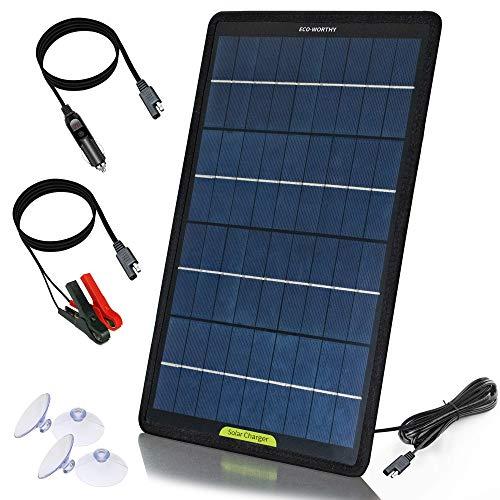 Eco Worthy 12 Volt 10 Watt Solar Autobatterie Ladegerät Solarmodul Erhaltungsladung Tragbares Solarpanel Notstromversorgung Mit Krokodilklemmen Adapter Für Auto Boot Motorrad Wohnmobil Lkw Gewerbe Industrie Wissenschaft
