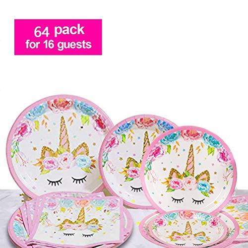 FOCCTS Unicorn Party Supplies Set, 16pcs 9inch Dinner Plates+16pcs 7inch Dessert Plates+32pcs Napkins, Disposable Unicorn Party Favors - Serves 16