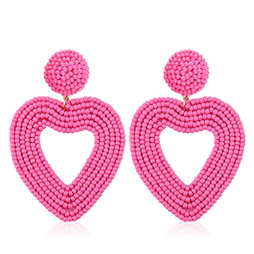 (Statement Beaded Drop Hoop Earrings for Women Handmade Heart Shape Novelty for Daily Holiday Party Meeting Club with gift box HLE135 Rose Pink)
