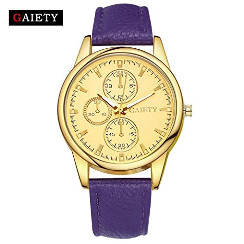 Transparent Dial Faux Leather Wrist Watch (Purple) - 5