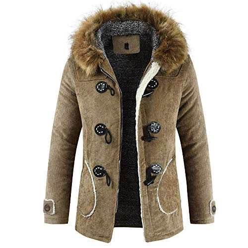 iYYVV Men's Winter New Hooded Hair Collar with Long Horns and Cotton Buttons Coat Yellow (Collar Mink Hair Long)