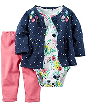 Baby Girls' 3-Piece Floral Cardigan Set