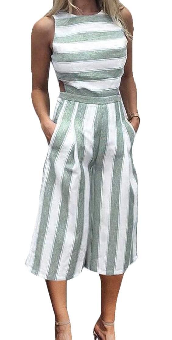 KLJR Women Backless Stripe Loose Fit Sleeveless Wide Leg Rompers Jumpsuit