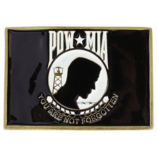(Armycrew Made in USA POW MIA You Are Not Forgotten Logo Metal Belt Buckle - POW MIA)
