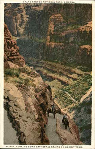 Looking Down Cathedral Stairs on Hermit Trail Grand Canyon National Park Original Vintage Postcard from CardCow Vintage Postcards